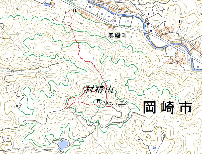村積山奥殿陣屋ルートウォーキングマップ